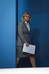 © Joel Goodman - 07973 332324 . No syndication permitted . 29/09/2013 . Manchester , UK . JUSTINE GREENING , Secretary of State for International Development , enters the stage . Day 1 of the Conservative Party Conference at Manchester Central . Photo credit : Joel Goodman