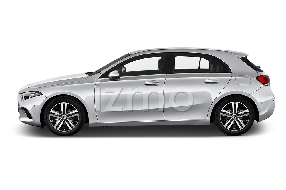 Car driver side profile view of a 2019 Mercedes Benz A Class Progressive 5 Door Hatchback