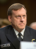Director Admiral Michael Rogers, Director of the National Security Agency (NSA) testifies during an open hearing held by the US Senate Select Committee on Intelligence to examine worldwide threats on Capitol Hill in Washington, DC on Tuesday, February 9, 2016.<br /> Credit: Ron Sachs / CNP