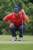 Dongmin KIM (KOR) lines up his putt on 4 during Rd 2 of the Asia-Pacific Amateur Championship, Sentosa Golf Club, Singapore. 10/5/2018.<br /> Picture: Golffile | Ken Murray<br /> <br /> <br /> All photo usage must carry mandatory copyright credit (© Golffile | Ken Murray)