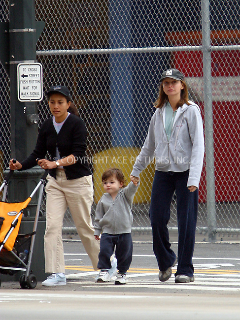"Former ""Ally McBeal"" star Calista Flockhart spends some time with her son while boyfriend Harrison Ford is busy attending talk shows and press junkets to promote his latest flick, ""Hollywood Homicide."" Calista was seen going for the run by Hudson River, after which she met unidentified friends and, later, a babysitter with her 2 1/2 year-old son Liam. Calista and Liam looked like they were Schwarzenegger and DeVito in 1988 ""Twins"" -- wearing matching grey sweatshirts and blue pants, making strikingly similar moves and funny faces. After spending nearly three hours at a playground, Calista and Liam walked back home, which was about fifteen street blocks away. Liam's babysitter just pushed an empty stroller all the way back home. New York, June 13, 2003. Please byline: NY Photo Press.   ..*PAY-PER-USE*      ....NY Photo Press:  ..phone (646) 267-6913;   ..e-mail: info@nyphotopress.com"