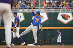 OMAHA, NE - JUNE 26: Austin Langworthy (44) of the University of Florida cheers at second base after hitting a double against Louisiana State University during the Division I Men's Baseball Championship held at TD Ameritrade Park on June 26, 2017 in Omaha, Nebraska. The University of Florida defeated Louisiana State University 4-3 in game one of the best of three series. (Photo by Jamie Schwaberow/NCAA Photos via Getty Images)