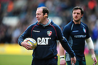 Leicester Tigers backs coach Geordan Murphy looks on during the pre-match warm-up. Aviva Premiership match, between Leicester Tigers and Saracens on March 20, 2016 at Welford Road in Leicester, England. Photo by: Patrick Khachfe / JMP