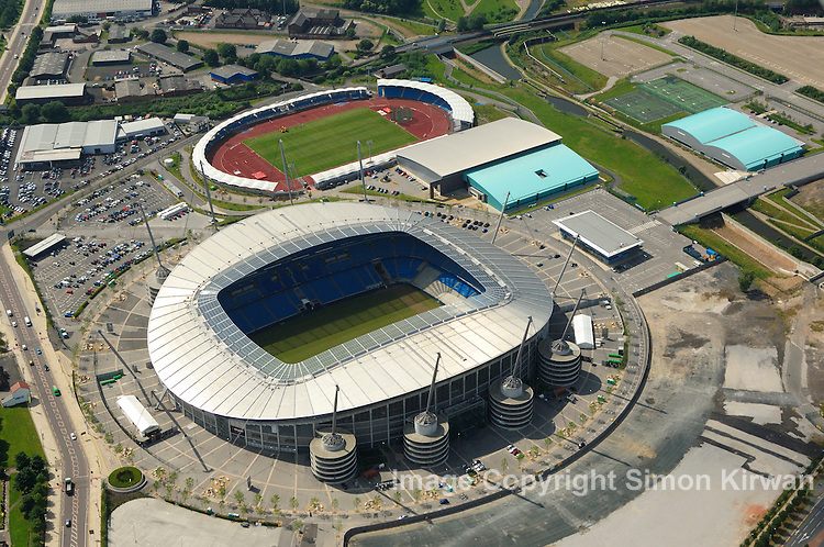 Football grounds from the air. Aerial view of Etihad Stadium, City of Manchester Stadium, home of Manchester City FC