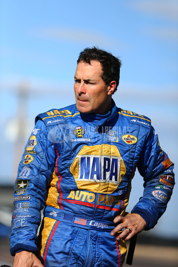 Feb 26, 2017; Chandler, AZ, USA; NHRA funny car driver Ron Capps during the Arizona Nationals at Wild Horse Pass Motorsports Park. Mandatory Credit: Mark J. Rebilas-USA TODAY Sports