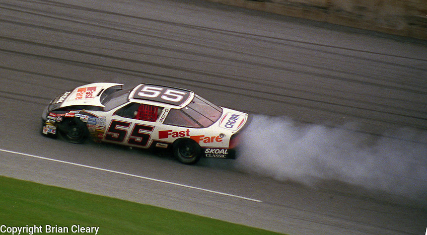 damaged car crash Busch series race  at Daytona International Speedway on February 1989.  (Photo by Brian Cleary/www.bcpix.xom)