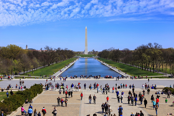 The Washington Monument And Lincoln Memorial Reflecting Pool on a Sunny Spring Day in Washington DC, USA Taken From The Lincoln Memorial