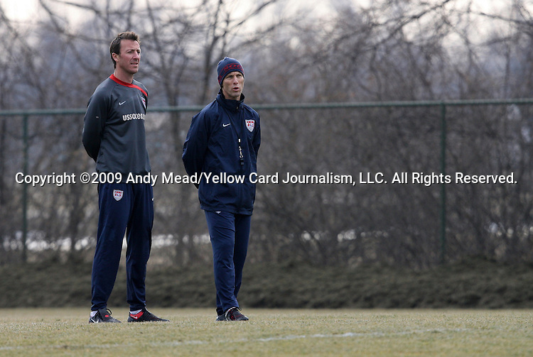 09 February 2009: U.S. head coach Bob Bradley (right) with fitness coach Pierre Barrieu (left). The United States Men's National Team held a training session at the Columbus Crew Training Facility in Obetz, Ohio in preperation for a FIFA 2010 World Cup Qualifier.