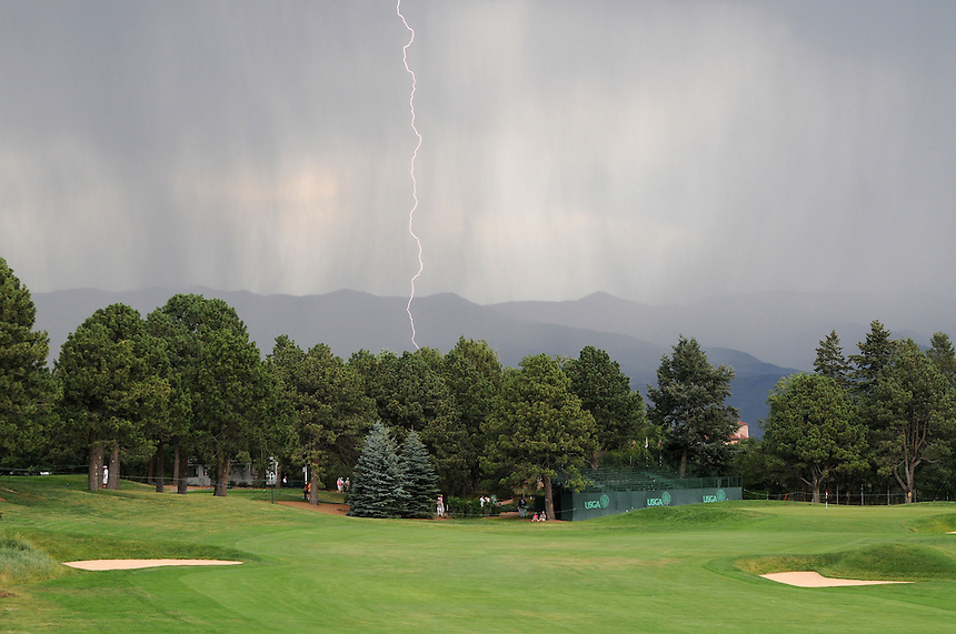 10 JULY 2011:    Lightning can be seen from the 13th hole during a weather delay  during the final round of the LPGA U.S. Women's Open at the Broadmoor in Colorado Springs, Colorado.   *****For Editorial Use Only*****