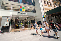 The Microsoft flagship store on Fifth Avenue in New York, on Friday, June 30, 2017. Microsoft is reported to be announcing a major restructuring of its business on July 5 with emphasis on cloud computing. (© Richard B. Levine)