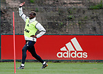 Paul Pogba of Manchester United stretches during the Manchester United open training session at the Carrington Training Centre, Manchester. Picture date: May 19th 2017. <br /> Pic credit should read: Matt McNulty/Sportimage
