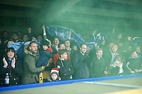 Fans of Wycombe Wanderers during the Sky Bet League 2 match between AFC Wimbledon and Wycombe Wanderers at the Cherry Red Records Stadium, Kingston, England on 21 November 2015. Photo by Alan  Stanford/PRiME.