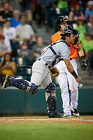 Trenton Thunder catcher Chance Numata (6) throws to second base as Ryan Howard (8) looks on during a game against the Richmond Flying Squirrels on May 11, 2018 at The Diamond in Richmond, Virginia.  Richmond defeated Trenton 6-1.  (Mike Janes/Four Seam Images)