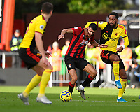 Nathaniel Chalobah of Watford right takes a hold on Dominic Solanke of Bournemouth during AFC Bournemouth vs Watford, Premier League Football at the Vitality Stadium on 12th January 2020