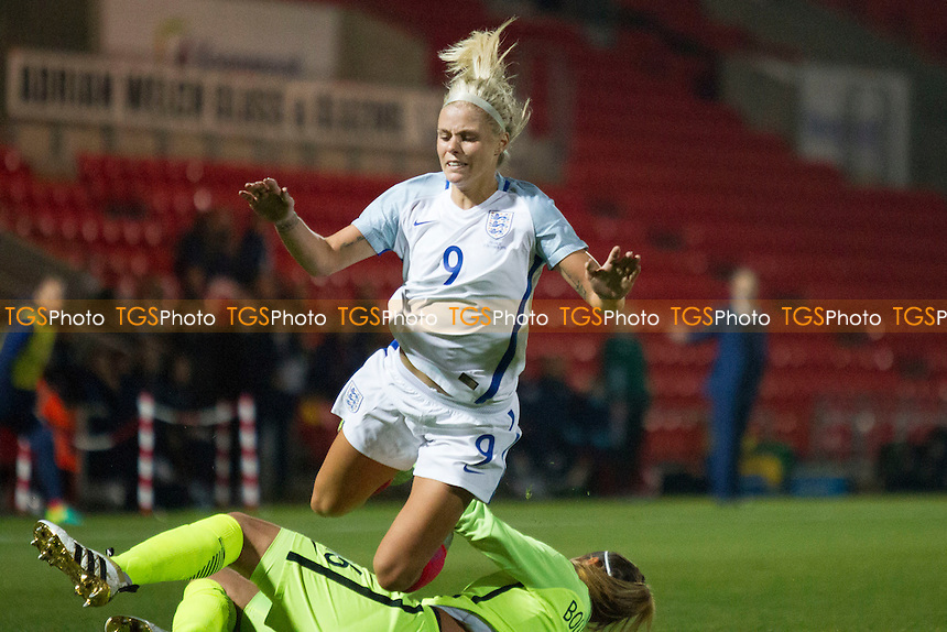 Sarah Bouhaddi (France) collides with Rachel Daly during England Women vs France Women, International Friendly Match Football at the Keepmoat Stadium on 21st October 2016