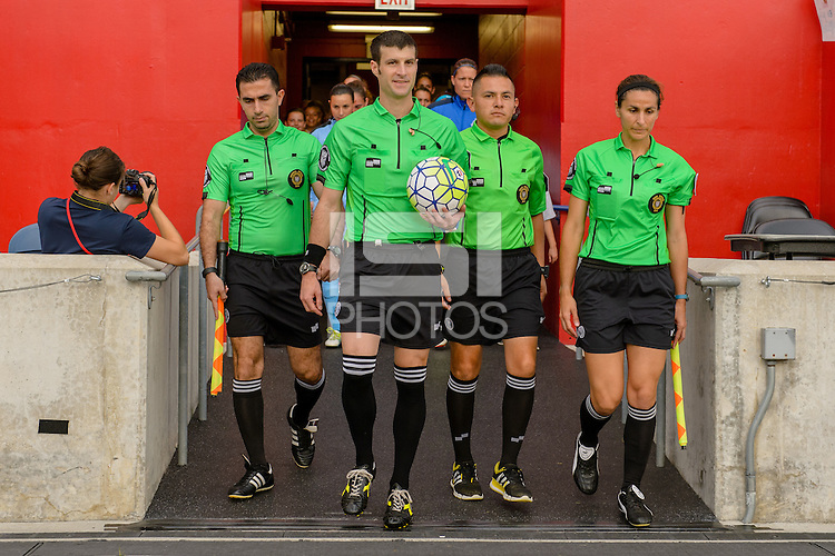 Chicago, IL - Saturday July 30, 2016: Artyom Arustamyan, Andrew Musashe, Edgar Osorio, Becky Pagan prior to a regular season National Women's Soccer League (NWSL) match between the Chicago Red Stars and FC Kansas City at Toyota Park.