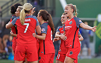 Portland, OR - Wednesday June 28, 2017: Dagný Brynjarsdóttir, Hayley Raso, Thorns celebrate a goal during a regular season National Women's Soccer League (NWSL) match between the Portland Thorns FC and FC Kansas City at Providence Park.