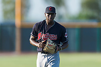 AZL Indians 1 starting pitcher Tahnaj Thomas (40) walks off the field between innings of an Arizona League game against the AZL Cubs 1 at Sloan Park on August 27, 2018 in Mesa, Arizona. The AZL Cubs 1 defeated the AZL Indians 1 by a score of 3-2. (Zachary Lucy/Four Seam Images)