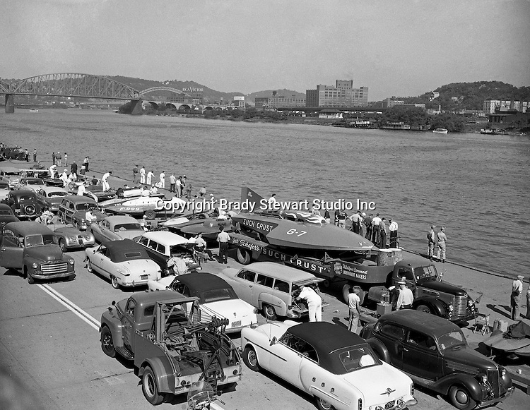 "Pittsburgh PA:  The Steel Cup Race was won by Wild Bill Contrell driving the Such Crust IV owned by Detroit bakery executive Jack Schafer - 1952.  The Pittsburgh Chamber of Commerce's 3rd annual ""Welcome Week"" included events unknown in other parts of America, such as a rivet-throwing contest, an aerial treasure hunt with dozens of planes and normally a race between two of the great puffin stern wheels, one representing the United States Steel Company and the other its rival, Jones and Laughlin Steel Company."