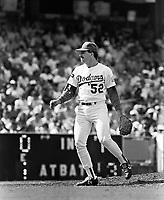 Los Angeles Dodgers pitcher Tim Crews #52 during a game against the New York Mets at Dodger Stadium during the 1987 season in Los Angeles,California.(Larry Goren/Four Seam Images)