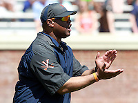 Virginia head coach Mike London reacts to a play during the annual Virginia football Orange-Blue Spring Game Saturday at Scott Stadium in Charlottesville, VA. Photo/The Daily Progress/Andrew Shurtleff