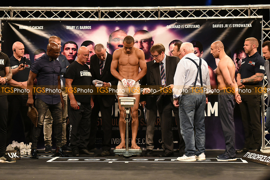 Chris Eubank Jr on the scales during a Weigh-In at the SSE Arena on 14th July 2017