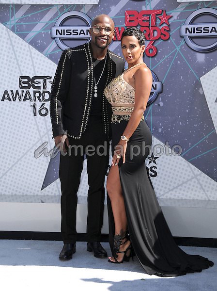 26 June 2016 - Los Angeles. Floyd Mayweather, Melissia Brim. Arrivals for the 2016 BET Awards held at the Microsoft Theater. Photo Credit: Birdie Thompson/AdMedia