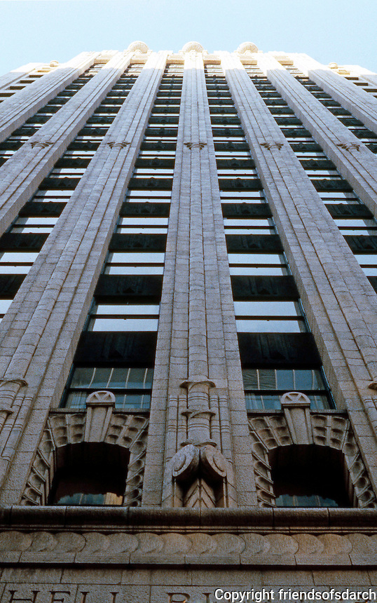 San Francisco:  Shell Building, 100 Bush Street. George Kelham, Architect. Zig Zag Moderne.   Photo '83.