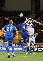Steven Thompson beats Owain Tudur Jones in the air in the St Mirren v Inverness Caledonian Thistle Clydesdale Bank Scottish Premier League match played at St Mirren Park, Paisley on 30.1.13.
