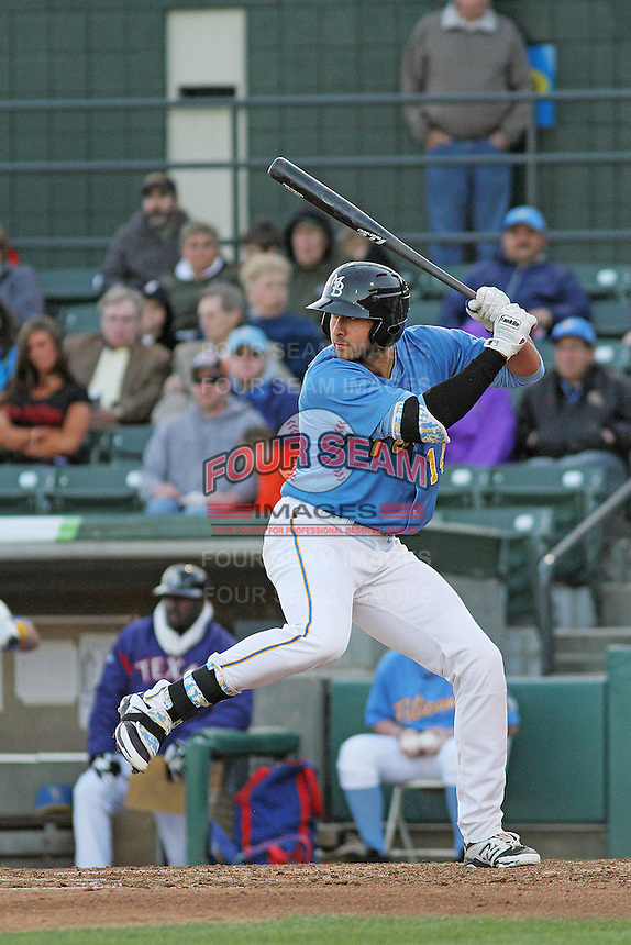 Myrtle Beach Pelicans infielder Joey Gallo #14 during a game against the Potomac Nationals at Ticketreturn.com Field at Pelicans Ballpark on April 16, 2014 in Myrtle Beach, South Carolina. Potomac defeated Myrtle Beach 7-3. (Robert Gurganus/Four Seam Images)