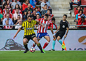 June 4th 2017, Estadi Montilivi,  Girona, Catalonia, Spain; Spanish Segunda División Football, Girona versus Zaragoza; Jose Enrique and Portu challenge for the ball during the match