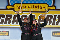 IMSA Continental Tire SportsCar Challenge<br /> Biscuitville Grand Prix<br /> Virginia International Raceway, Alton, VA USA<br /> Saturday 26 August 2017<br /> 44, Nissan, Altima, ST, Sarah Cattaneo, Owen Trinkler celebrate the win on the podium in victory lane<br /> World Copyright: Scott R LePage<br /> LAT Images
