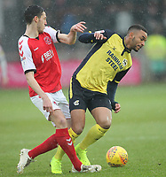 Fleetwood Town's Ross Wallace battles with Scunthorpe Utd's Rory McArdle<br /> <br /> Photographer Mick Walker/CameraSport<br /> <br /> The EFL Sky Bet League One - Fleetwood Town v Scunthorpe United - Saturday 26th January 2019 - Highbury Stadium - Fleetwood<br /> <br /> World Copyright © 2019 CameraSport. All rights reserved. 43 Linden Ave. Countesthorpe. Leicester. England. LE8 5PG - Tel: +44 (0) 116 277 4147 - admin@camerasport.com - www.camerasport.com