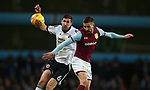 Chris Basham of Sheffield Utd challenges Conor Hourihane of Aston Villa during the Championship match at Villa Park Stadium, Birmingham. Picture date 23rd December 2017. Picture credit should read: Simon Bellis/Sportimage
