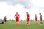 09 January 2015: Salvador Bernal (UNLV) (20) does a sprint as Connor Hallisey (California) (21) waits his turn. The 2015 MLS Player Combine was held on the cricket oval at Central Broward Regional Park in Lauderhill, Florida.