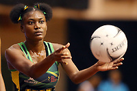 21.02.2018 Jamaica's Khadijah Williams in action during the Jamaica v Fiji Taini Jamison Trophy netball match at the North Shore Events Centre in Auckland. Mandatory Photo Credit ©Michael Bradley.