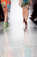 Modelle presentano creazioni di Christie Brown durante la rassegna ITC's Ethical Fashion Initiative con Altaroma a Roma, 7 luglio 2013.<br /> Models wear creations of Christie Brown during the ITC's Ethical Fashion Initiative and  Altaroma in Rome, 7 July 2013.<br /> UPDATE IMAGES PRESS/Virginia Farneti