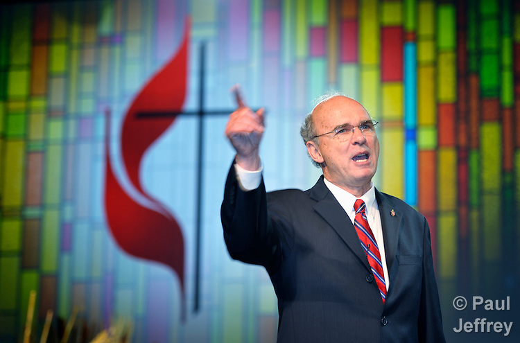Bishop Peter Weaver delivers the Episcopal Address to an April 25 session of the 2012 United Methodist General Conference in Tampa, Florida.
