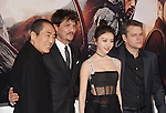 HOLLYWOOD, CA - FEBRUARY 15: (L-R) Director Zhang Yimou, actors Pedro Pascal, Jing and Matt Damon arrive at the premiere of Universal Pictures' 'The Great Wall' at TCL Chinese Theatre IMAX on February 15, 2017 in Hollywood, California.