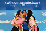 Giulio Ciccone (ITA) Trek-Segafredo retains the mountains Maglia Azzurra at the end of Stage 19 of the 2019 Giro d'Italia, running 151km from Treviso to San Martino di Castrozza, Italy. 31st May 2019<br /> Picture: Massimo Paolone/LaPresse | Cyclefile<br /> <br /> All photos usage must carry mandatory copyright credit (© Cyclefile | Massimo Paolone/LaPresse)