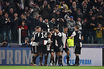 Paulo Dybala of Juventus celebrates with team mates after scoring to give the side a 1-0 lead during the UEFA Champions League match at Juventus Stadium, Turin. Picture date: 26th November 2019. Picture credit should read: Jonathan Moscrop/Sportimage