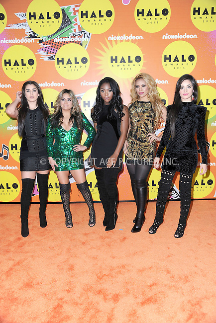 WWW.ACEPIXS.COM<br /> November 14, 2015 New York City<br /> <br /> Lauren Jauregui, Ally Brooke, Normani Hamilton, Dinah Jane Hansen and Camila Cabello of Fifth Harmony attending the 2015 Nickelodeon HALO Awards at Pier 36 on November 14, 2015 in New York City.<br /> <br /> Credit: Kristin Callahan/ACE<br /> Tel: (646) 769 0430<br /> e-mail: info@acepixs.com<br /> web: http://www.acepixs.com