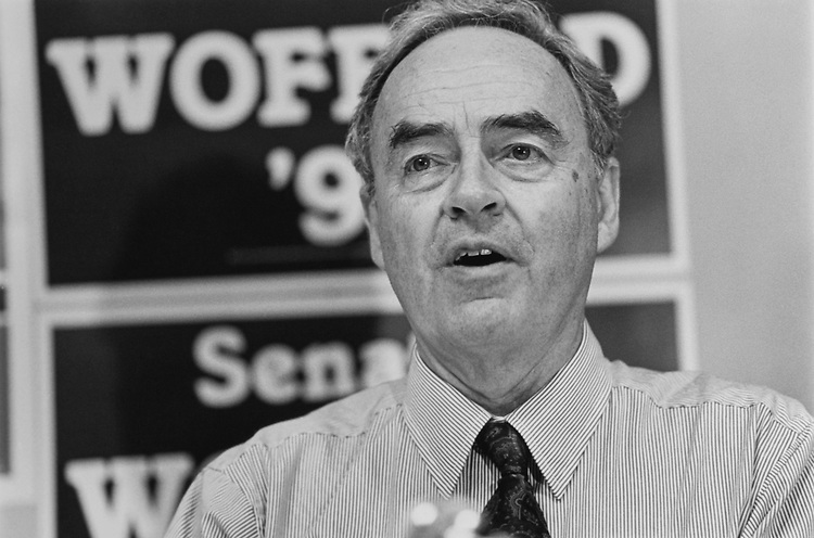"Sen. Harris Wofford, D-Pa., ""Election Special"", Nov. 4, 1991. (Photo by Laura Patterson/CQ Roll Call via Getty Images)"
