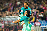 FC Barcelona's forward Neymar Santos Jr (L) and forward Luis Suarez (R) celebrates after scoring a goal during the match of Copa del Rey between Atletico de  Madrid and Futbol Club Barcelona at Vicente Calderon Stadium in Madrid, Spain. February 1st 2017. (ALTERPHOTOS/Rodrigo Jimenez)