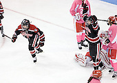Katie MacSorley (Northeastern - 3), Lucie Povova (Northeastern - 92) - The Boston University Terriers defeated the visiting Northeastern University Huskies 3-2 on Saturday, January 28, 2012, at Agganis Arena in Boston, Massachusetts.