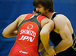 January 26, 2013: Japan's, Hitoyuki Shimizu, and USA's, Andrew Bisek, during Greco-Roman wrestling action during the Jack Pinto Cup at the United States Olympic Training Center, Colorado Springs, Colorado.  This unique dual format international competition has been named in memory of Jack Pinto, a young USA Wrestling member and one of the shooting victims at Sandy Hook Elementary School, Newtown, CT.