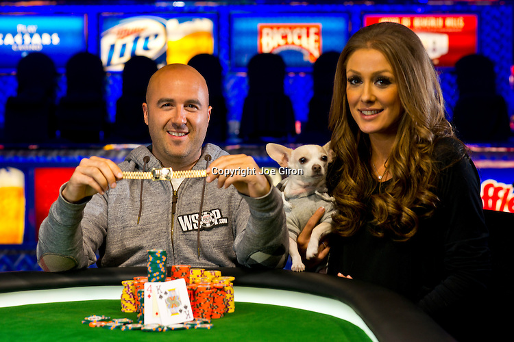 2013 WSOP Event 38 Gold Bracelet Winner Justin Olive with girlfriend, Stephanie & Cha Cha.