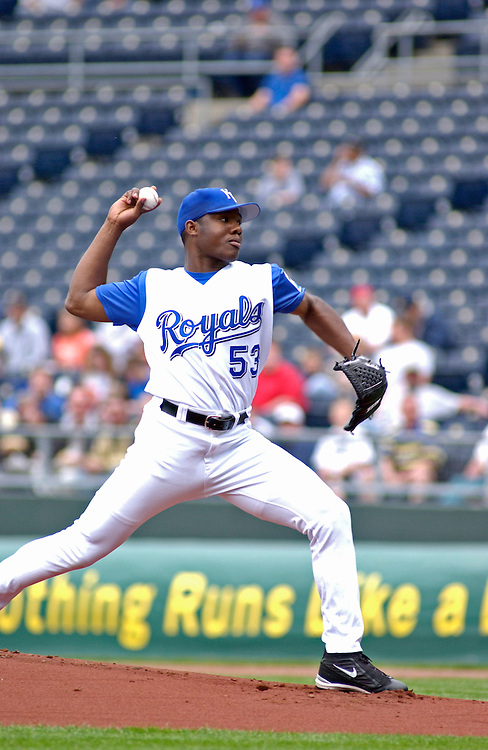 Royals RHP Miguel Asencio starts against the Chicago White Sox at Kauffman Stadium in Kansas City, Missouri on April 3, 2003. Kansas City won 12-6.