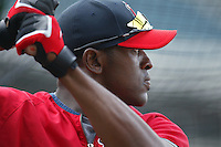 Gary Matthews jr of the Los Angeles Angels during batting practice before a 2007 MLB season game at Angel Stadium in Anaheim, California. (Larry Goren/Four Seam Images)