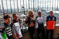 Monster Energy AMA Supercross world Championship Riders adam cianciarulo,  Mike Alessi , model Dianna Dahlgren, chad reed,and Ken Roczen Visit The Empire State Building in New York , April 23, 2014. VIEWPRESS/Kena Betancur